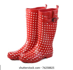 Polka dot red rain boots