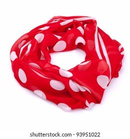 Polka dot scarf isolated on white background