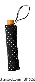 polka dot umbrella folded cover isolated on white background
