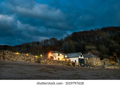 Polkerris basking in the last of a winters evening light as blue hour takes hold.