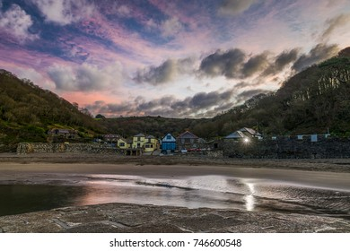 Polkerris Harbour, St Austell, Cornwall, UK  The idyllic small harbour town of Polkerris photographed at the break of dawn in mid Autumn.