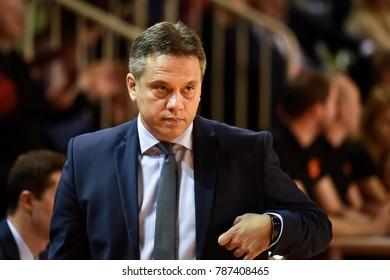 POLKOWICE, POLAND - JANUARY 03; 2018: Women basketball Euroleague match CCC Polkowice - ZVVZ USK Praha 51:61. Georgios Dikaioulakos head coach of CCC.