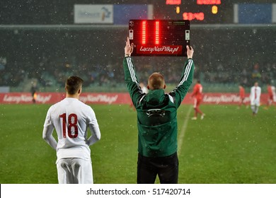 POLKOWICE, POLAND - NOVEMBER 10, 2016: Four Nations Tournament U20 national team youth match Poland - Switzerland 2:0. Referee shows substitution players.