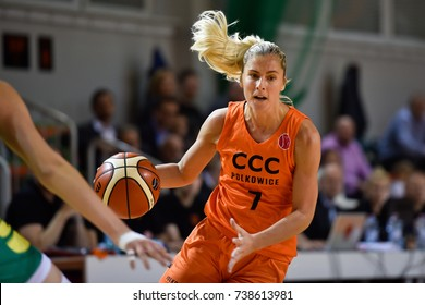 POLKOWICE, POLAND - OCTOBER 18; 2017: Women basketball Euroleague match CCC Polkowice - Sopron Basket 70:73. In action Elina Dikaioulakou (nee. Babkina).
