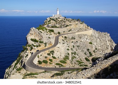 POLLENCA, BALEARIC ISLANDS, SPAIN - OCTOBER 16, 2015: Formentor Lighthouse. It is the highest lighthouse in the Balearic Islands with a focal height of 210 metres above sea level.