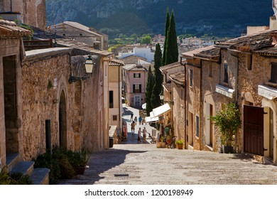 POLLENCA, MAJORCA, SPAIN - September 27th, 2018: View from steps leading to famous Calvari church in ancient town of Pollenca in north east Majorca