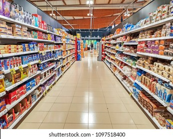 POLLENSA, MALLORCA - MAY 21, 2018: Aisle in a supermarket. Port de Pollensa is a small town in northern Majorca, Spain, situated on the Bay of Pollensa.