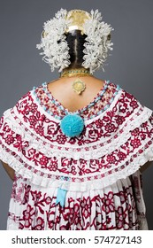 POLLERA FROM PANAMA. Lady wearing the traditional costume and ornaments of Panama