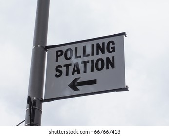 A polling Station sign in London, UK
