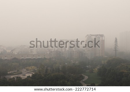 Polluted air over Beijing city. ???????????????? ? ?????