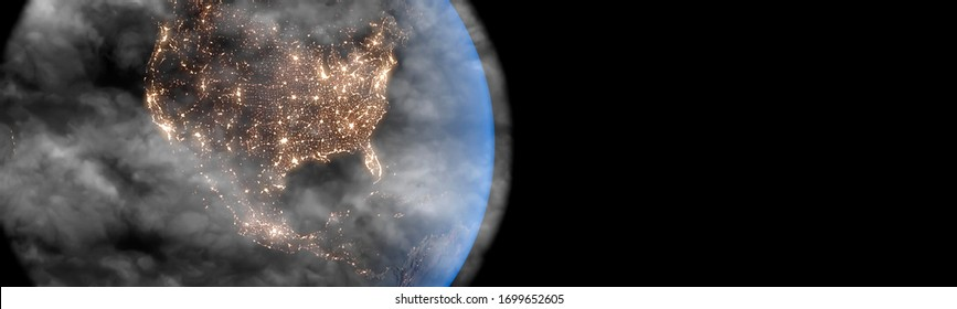 Polluted Earth and north America concept with pollution clouds panoramic