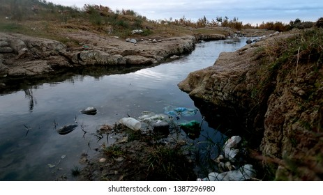 Polluted landscape with a lot of waste ( azerbaijan