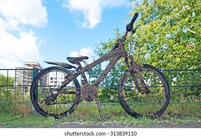 polluted old bike, salvaged from a canal