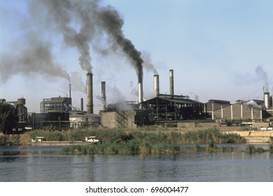Polluting factory next to the Nile, Egypt