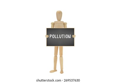 Pollution blackboard Wood mannequin isolated on white background