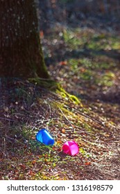 pollution: colored plastic cups lying in a forest underneath a large tree