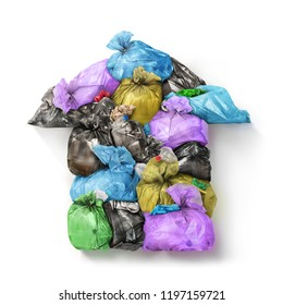 Pollution concept. Garbage bags laid out form of house isolated on a white