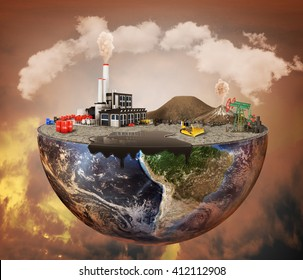 Pollution concept. Plant, machinery, petroleum, emissions, dirty air, landfill. Plant with vulcans and oil spot on the half of planet.  Save the planet.
