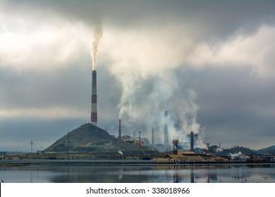 pollution of nature ecology. Industrial landscape in Karabash, Chelyabinsk region, Russia