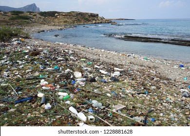 Pollution on the beach of North Cyprus