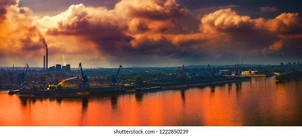 Pollution over the city, Ruse city, Danube river, Bulgaria
