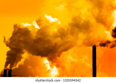 Pollution poor air quality factory smoke stacks environment