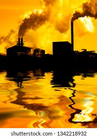 Pollution poor air quality factory smoke stacks environment water reflection