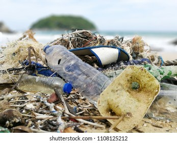 Pollutions and garbages on the beach ,Plastic waste in the sea