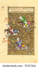 Polo players - Persian miniature painting -- page from old book, watercolor & gold leaf