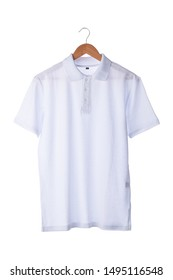 Polo shirt for printing on a hanger and on a white background.