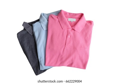 Polo shirts on white background