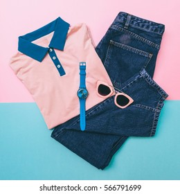 polo tee shirt, jeans and accessories. fashion pastel blue and pink palette.