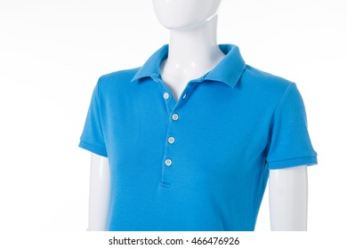 c388e893bd64 Polo t-shirt of blue color. Female mannequin in t-shirt. Low