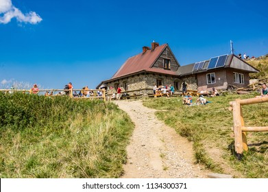 "POLONIA WETLINSKA, POLAND - 17 AUGUST 2017: ""Chatka puchatka"" a mountain cottage at Wetlina Poloninska hill"