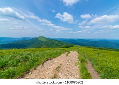 Polonina Wetlina mountain trail in Polish Bieszczady Mountains