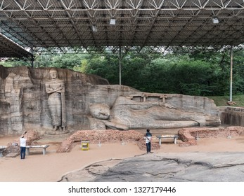 Polonnaruwa, Shri Lanka - January 30, 2019: These Buddha statues where erected in the 12th century at Polonnaruwa, Shri Lanka.