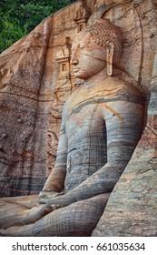 Polonnaruwa. Sri Lanka. Gal Vihara Buddhist Statue. Vertical photo