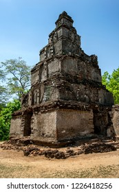 POLONNARUWA, SRI LANKA - JULY 25, 2012 : The ruins of the Thuparama Gedige within the Quadrangle at the ancient site of Polonnaruwa. It is a hollow Buddhist temple but with Hindu influences.