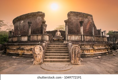 Polonnaruwa Vatadage in the night is ancient structure dating back to the Polonnaruwa Kingdom of Sri Lanka.