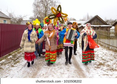 Polotsk, Belarus/13.01.2018. Christmas carols on the old new year. Traditional festival consists of greetings, comic scenes, Christmas fortune-telling and folk games, as well as Belarusian songs