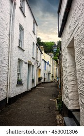 Polperro, Cornwall, England. narrow streets and cottages in the historic fishing village of Polperro.