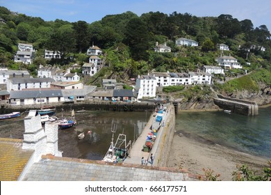 Polperro in Cornwall, the harbour seen from cliffs on the coast path