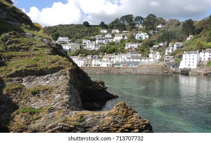 Polperro, Cornwall - a view of the harbour from the rocks