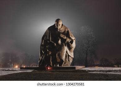 Częstochowa, Ślaskie, Polska - 02.03.2019  - Wyszyński at night. Jasna Góra