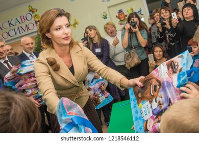 POLTAVA OBLAST , UKRAINE - 31 OCTOBER 2018: First Lady of Ukraine Maryna Poroshenko while attending an orphanage