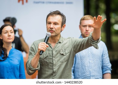 POLTAVA, UKRAINE - 2 JULY 2019: Ukrainian singer and politician Svyatoslav Vakarchuk during the presentation of his political party
