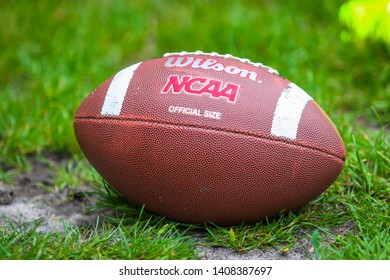 POLTAVA, UKRAINE – 26 MAY 2019: A ball for playing American football during the match of Ukrainian American football Championship between Poltava Panthers and Dnipro United 2 at Molodist Stadium