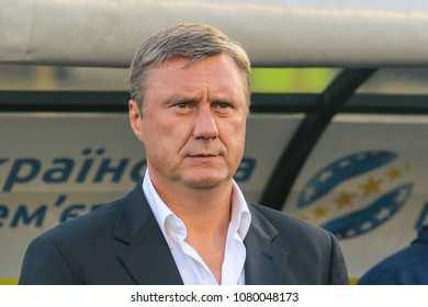 POLTAVA, UKRAINE – 29 APRIL, 2018: Retired Belarusian football player Alyaksandr Khatskevich during the match of the Ukrainian Football Championship Vorskla - Dynamo (Kyiv) at the Oleksiy Butovsky