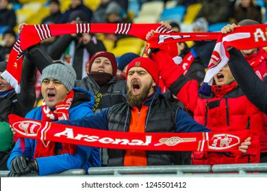POLTAVA, UKRAINE - 29 NOVEMBER 2018: Fans of FC Arsenal London during UEFA League Europe match Vorskla - Arsenal London at Vorskla Stadium