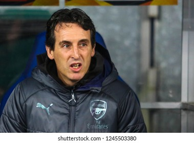 POLTAVA, UKRAINE - 29 NOVEMBER 2018: Spanish football manager Unai Emery during UEFA League Europe match Vorskla - Arsenal London at Vorskla Stadium